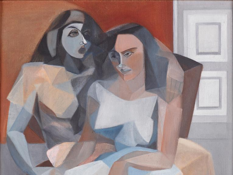 Abstract painting of two people