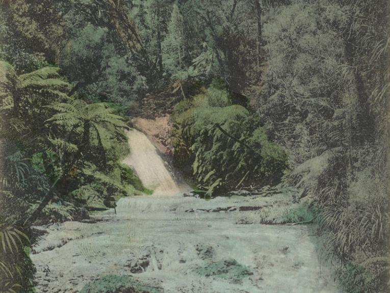 Watercolour picture of a small waterfall in the forest