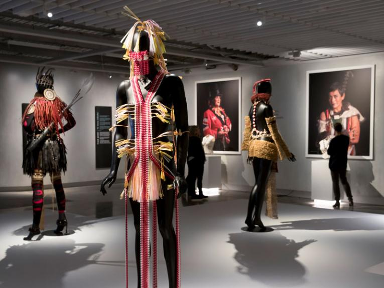 Mannequins dressed in Pacific inspired fashion