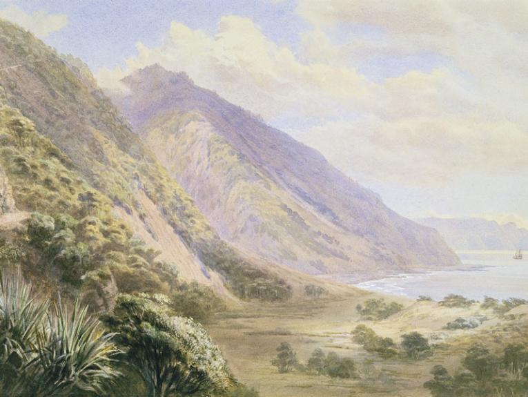 Watercolour painting of a coastline