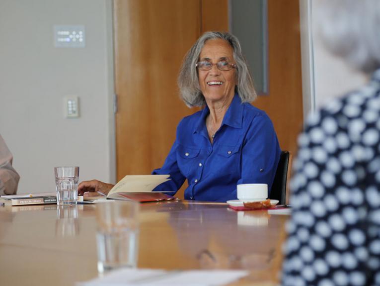Patricia Grace leads a writing workshop at Te Papa, 2016. Photograph by Wiremu Grace. Te Papa