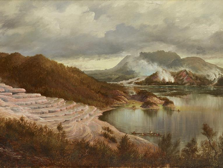 Oil on canvas painting of the Pink Terraces 1885