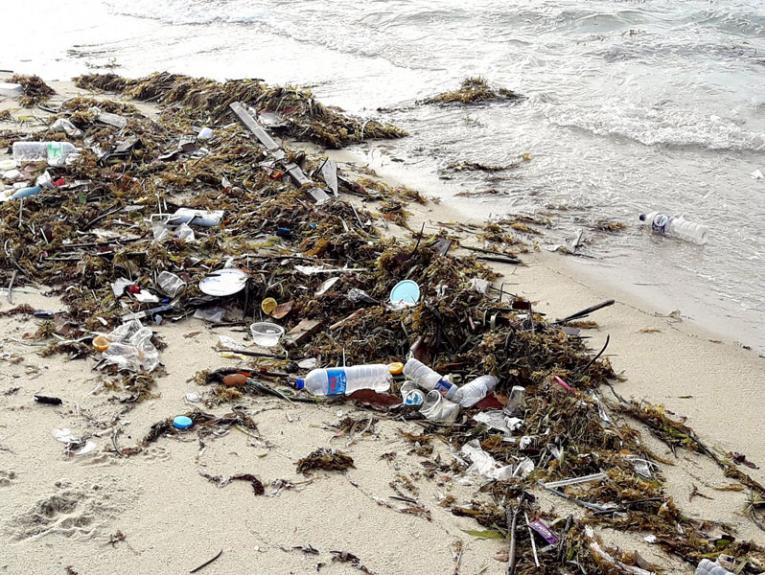 Plastic rubbish on a beach