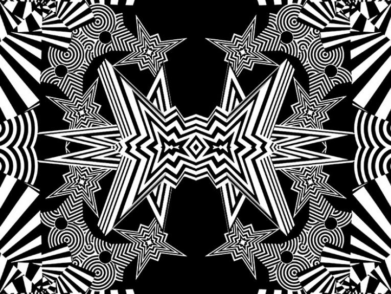 A still from a kaleidoscopic black and white video