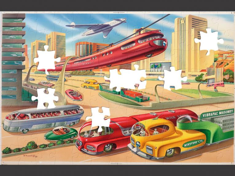 Puzzle of a bright colourful painting of high buildings, trains in the sky, and long vehicles