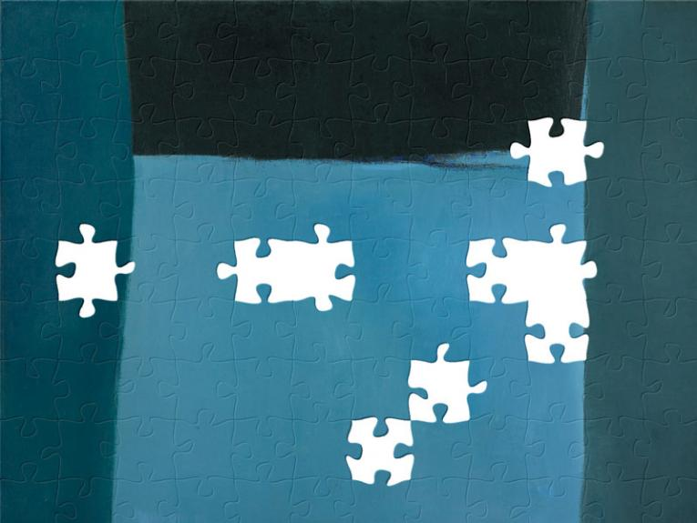 A painting of four different blue squares