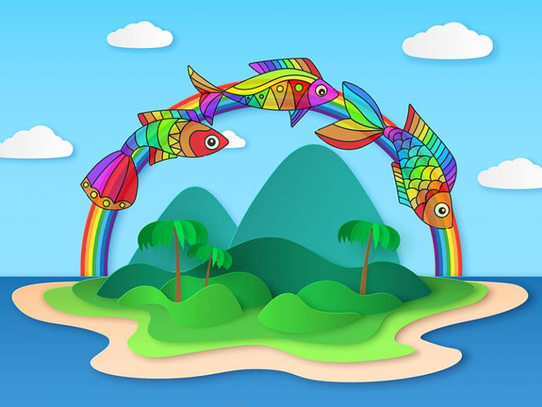 Image of multi-coloured fish swimming on a rainbow shining over a tropical island