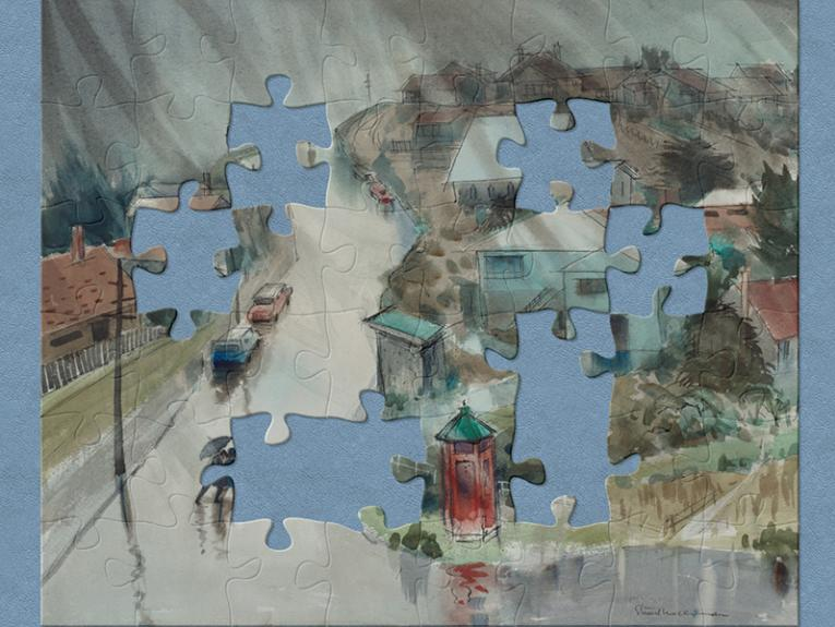 A painting of a rainy village scene with people walking with umbrellas. There are jigsaw shapes creating gaps in the image