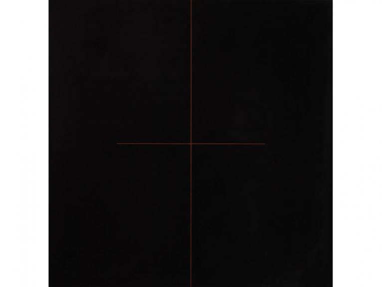Black painting with an orange cross in the middle