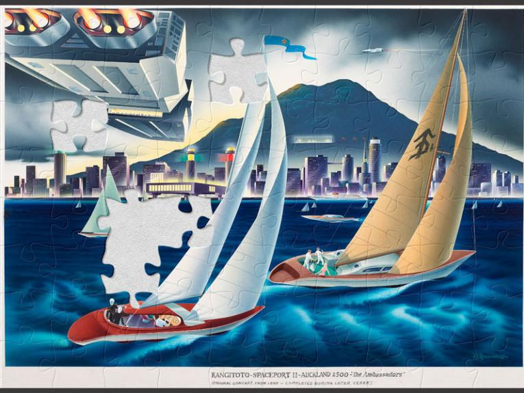 Puzzle of a colourful painting of sailing boats and spaceships with a volcano in the distance