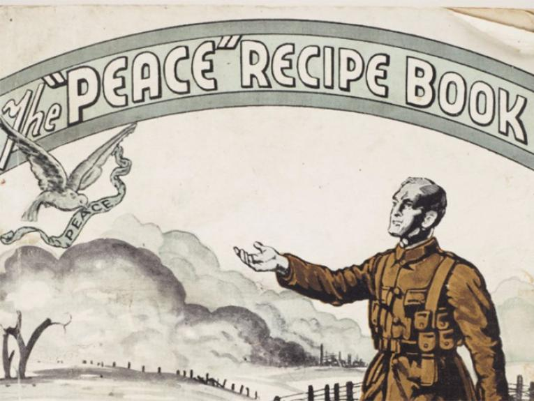 Cover of a recipe book with a soldier painted on it. The title reads 'The Peace Recipe Book'.