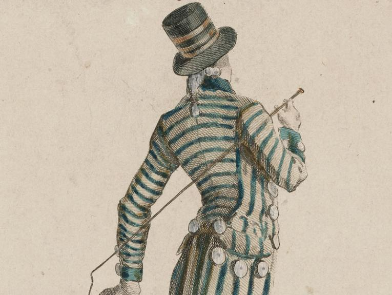 Drawing of a man in a fitted striped suit and top hat