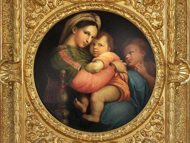 Oil painting of The Madonna with an ornate gold frame