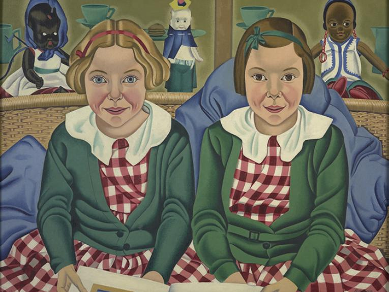 Portrait of two school girls in green cardigans with dolls in the background by Rita Angus