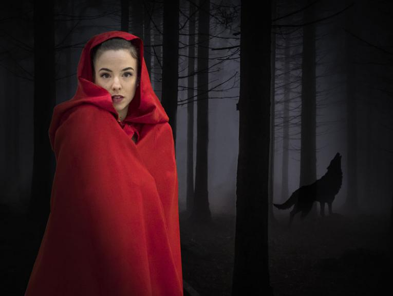 Lady dress as Little Red Riding Hood