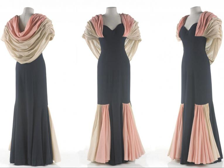 Three views of a pink, white, and black dress