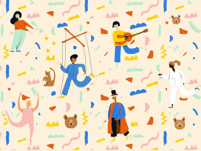 Illustration of puppets, ballerinas, dancing, and magicians