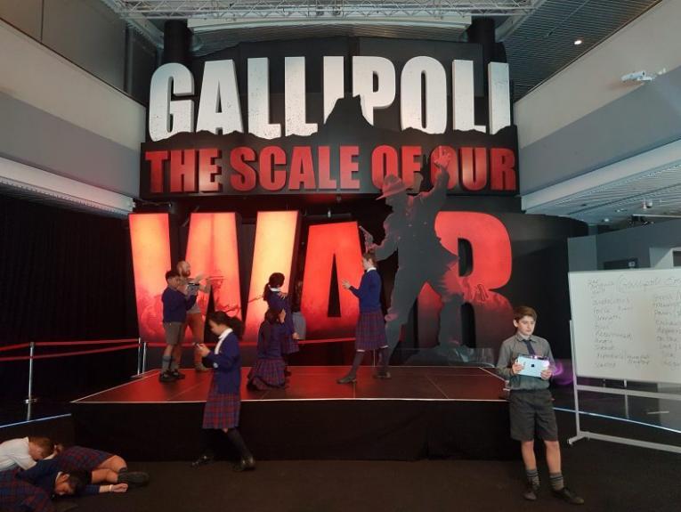 Students exploring the Gallipoli exhibition