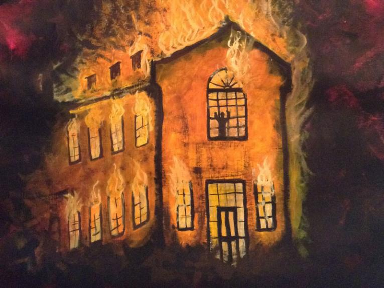 Painting depicting the fire at Seacliff Mental Hospital