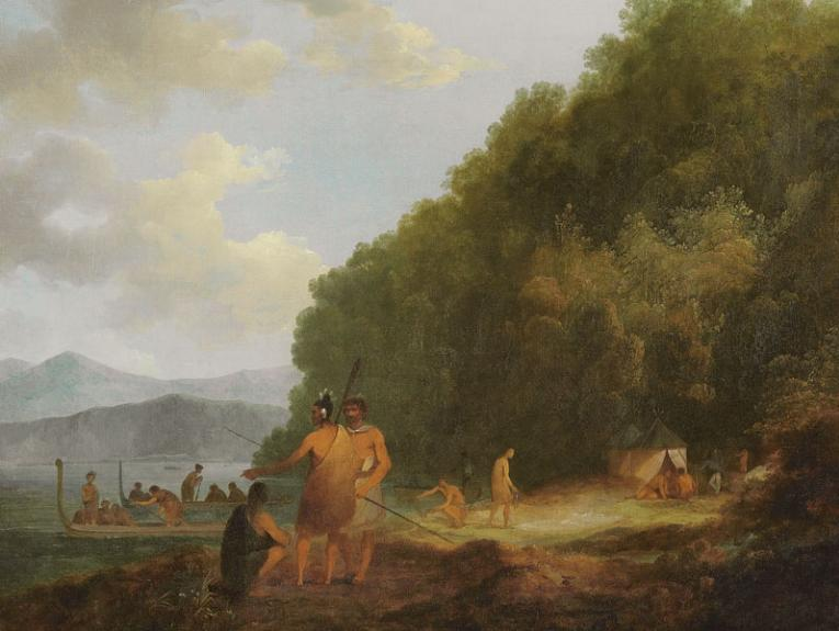 Painting of Māori trading with British sailors