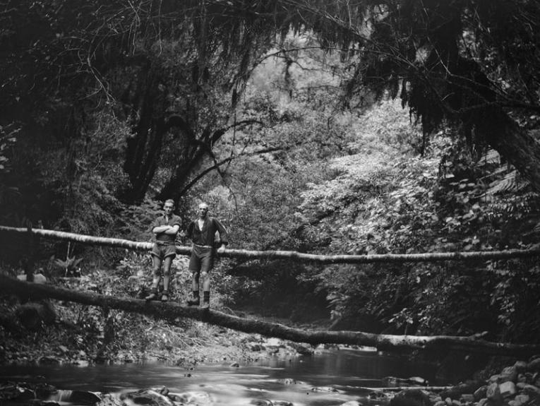 Black and white photo of two man balances on a tree which has fallen across a river