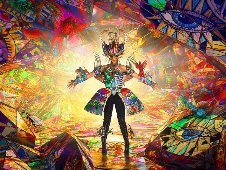 Colourful stage set with person in costume