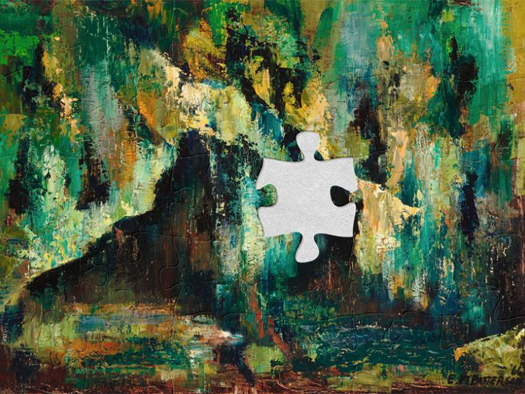 Abstract oil painting of incredibly rich colours, especially green, of what could be interpreted as a cave