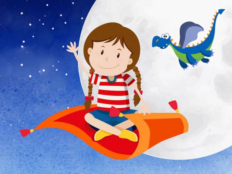 Cartoon of a little girl on a flying rug with a dinosaur