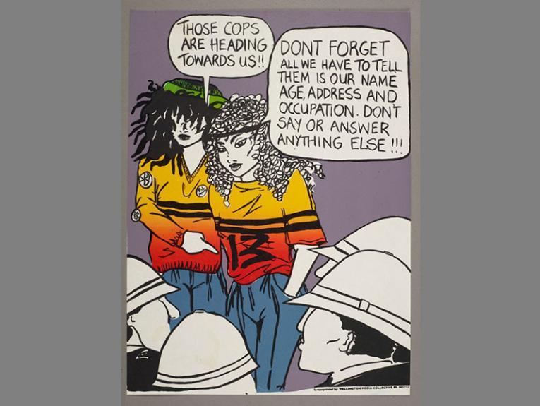 A cartoon of two women facing two police men