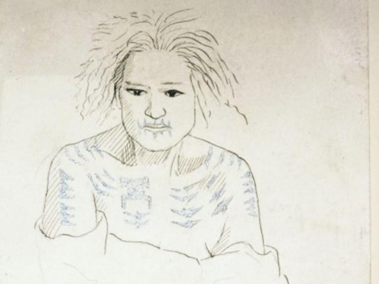 Line drawing of a tattooed woman