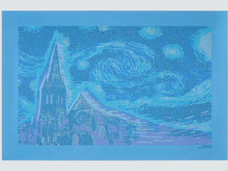 A print of the ChristChurch Cathedral made up of text from Twitter