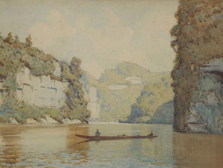 Watercolour of a river and a boat