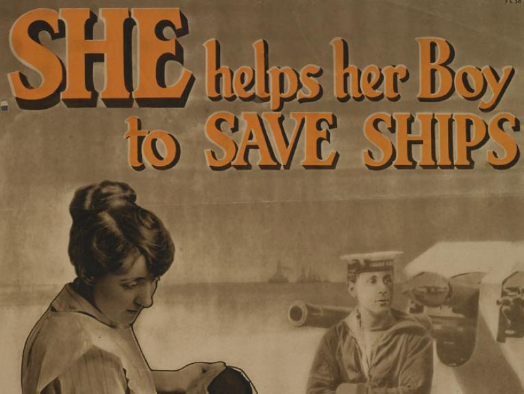 Poster of a woman with the words 'she helps her boy save ships'