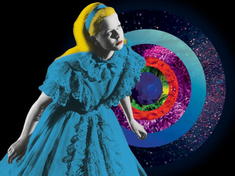 Graphic of Alice in Wonderland in front of a multi-coloured circle