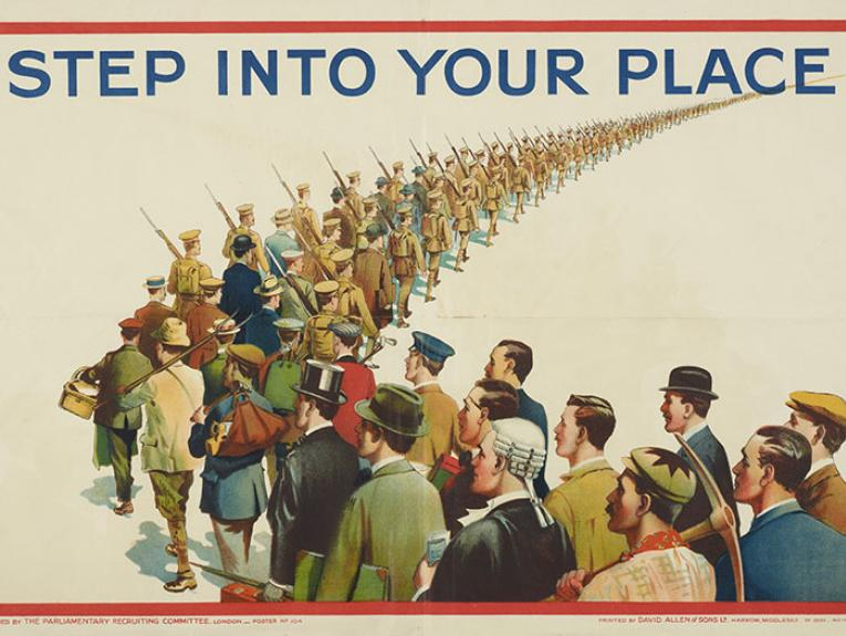 A WW1 poster of men from all professions standing in a queue the text above reads 'Step Into Your Place'