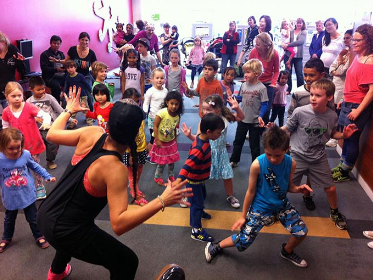 Children dance in a Zumba class