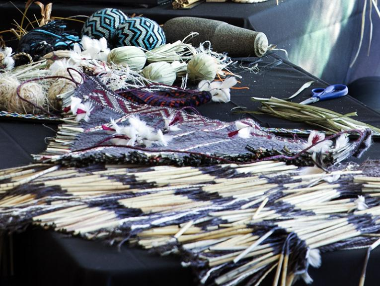 A selection of woven objects on a table