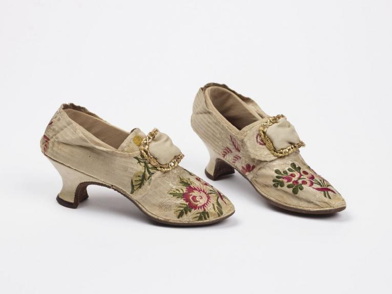 Ladies shoes made of silk, brocade, and leather