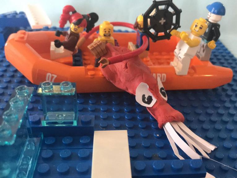 Using Plasticine and Lego to make a fishing boat and colossal squid