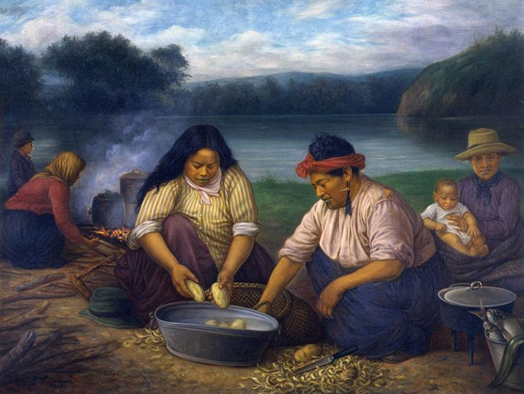 Māori women and children on riverbank peeling potatoes