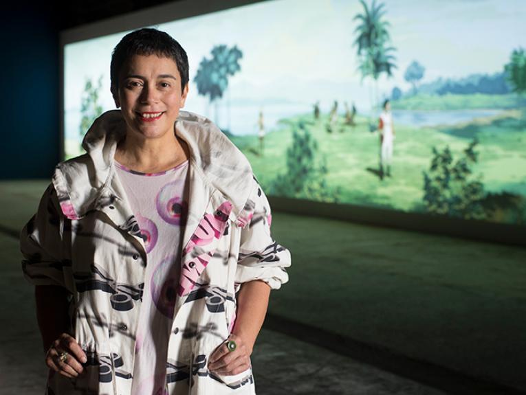 Lisa Reihana in front of her work in Pursuit of Venus [infected]