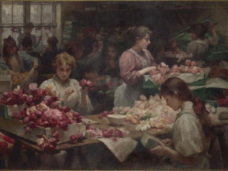 The Clerkenwell flower makers, 1896, by Samuel Fisher. Gift of Levin and Co., 1912. Te Papa (1912-0002-1)