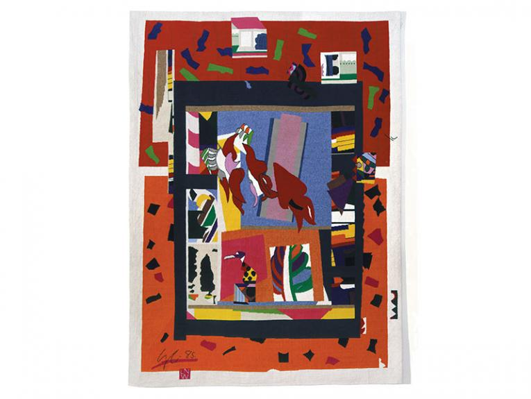 Abstract tapestry with a red kōwhai at its centre