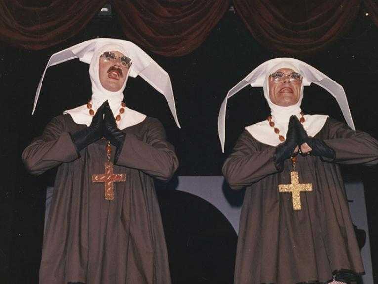 Two men dressed as nuns