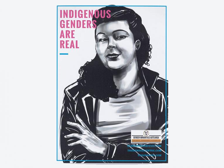 This poster features a powerful and positive image of a trans person smiling at the viewer with the message 'Indigenous Genders Are Real'