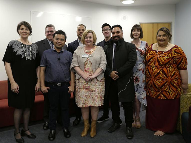 Some of Te Papa's Mahuki team with Hon Dr Megan Woods, Minister of Research, Science and Innovation