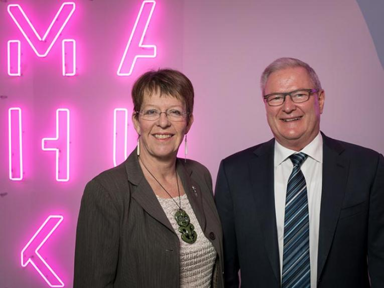 Mayor Celia Wade-Brown and Te Papa Chief Executive Rick Ellis