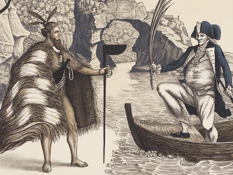 Drawing of Captain Cook and a Māori meeting