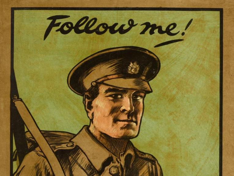 Poster, 'Follow me!', November 1914, United Kingdom, by E J Kealey, Parliamentary Recruiting Committee, Hill, Siffken & Co. (L.P.A. Ltd.). Gift of Department of Defence, 1919. Te Papa (GH016317)