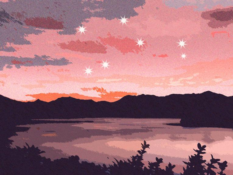 A New Zealand landscape scene with the Matariki star cluster in the sky